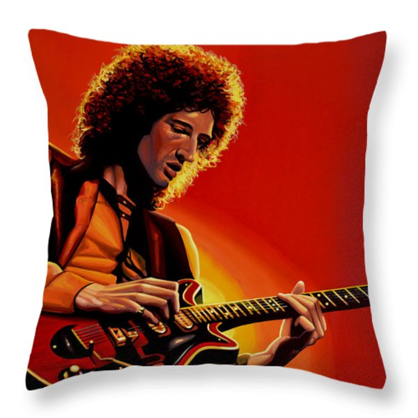 Brian May Throw Pillow by Paul Meijering