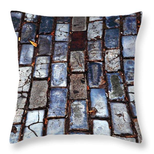 Brick Street Throw Pillow by John Rizzuto