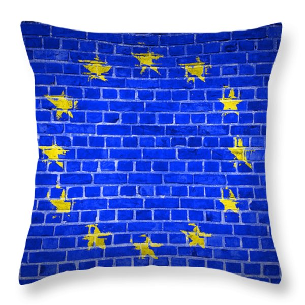 Brick Wall European Union Throw Pillow by Antony McAulay