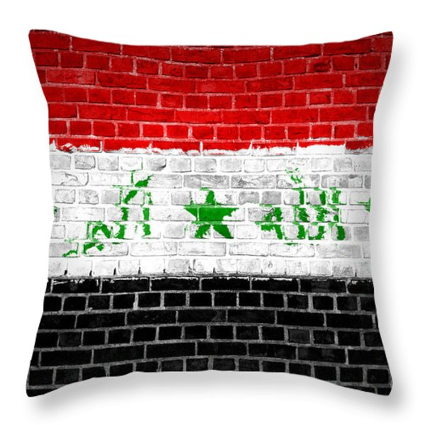 Brick Wall Iraq Throw Pillow by Antony McAulay