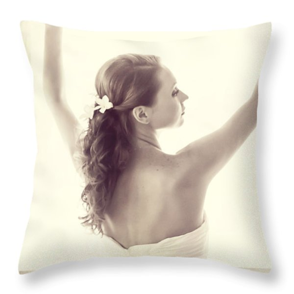 Bride at the Window Throw Pillow by Jenny Rainbow