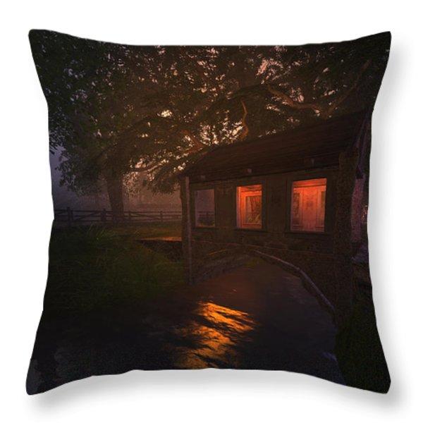 Brideshead Creek Bridge Throw Pillow by Kylie Sabra
