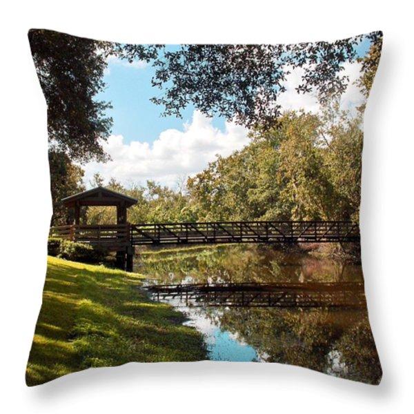 Bridge At Sawgrass Park Throw Pillow by Ginny Schmidt