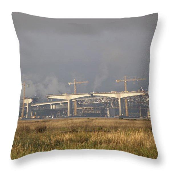 Bridge Building Throw Pillow by Bill Gallagher