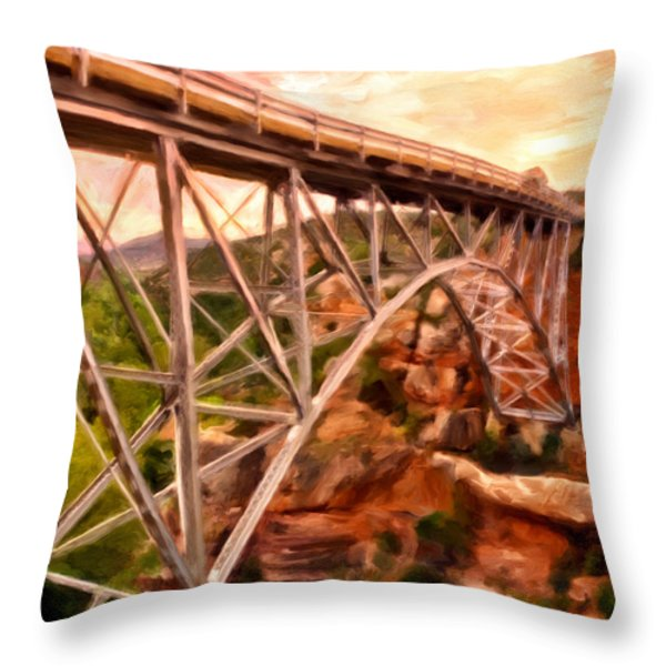 Bridge In Oak Creek Canyon Throw Pillow by Michael Pickett