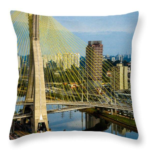 Bridge in Sao Paulo Throw Pillow by Daniel Precht
