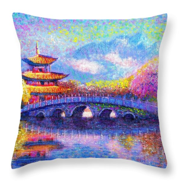 Bridge of Dreams Throw Pillow by Jane Small