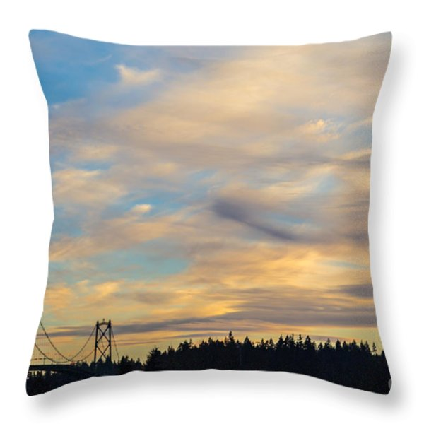Bridge View Sunset Throw Pillow by Alanna DPhoto