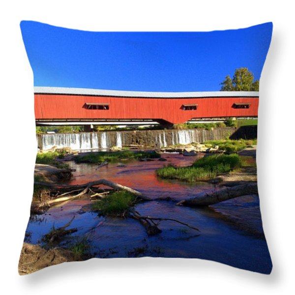Bridgeton Covered Bridge 1 Throw Pillow by Marty Koch