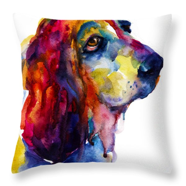 Brilliant Basset Hound Watercolor Painting Throw Pillow by Svetlana Novikova