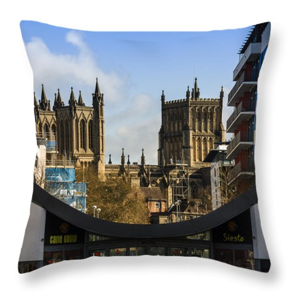 Bristol Cathederal Throw Pillow by Brian Roscorla