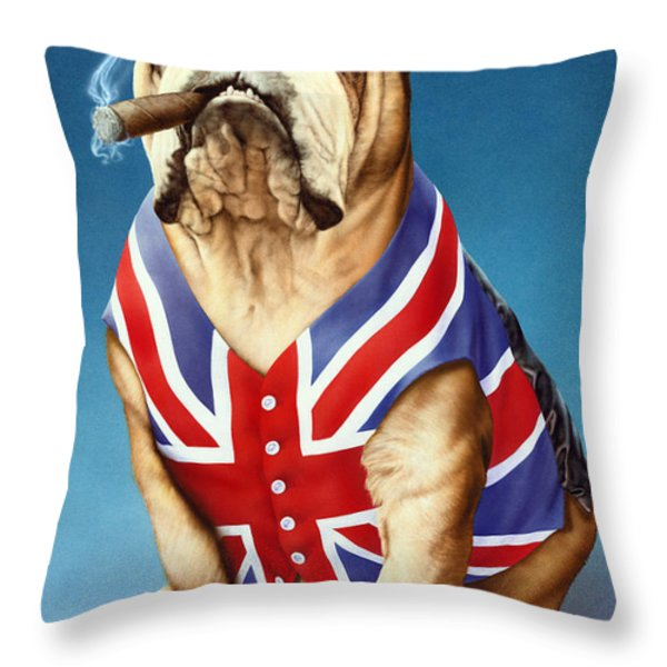 British Bulldog Throw Pillow by Andrew Farley