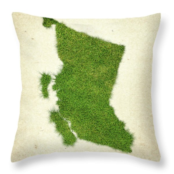 British Columbia Grass Map Throw Pillow by Aged Pixel