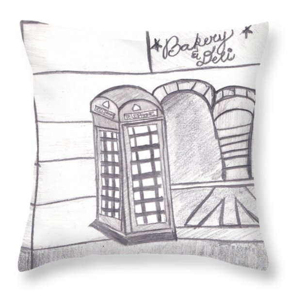 British Telephone Booth   Throw Pillow by Melissa Vijay Bharwani
