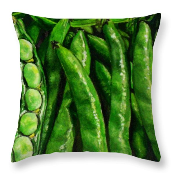 Broad Beans Throw Pillow by Arual Jay