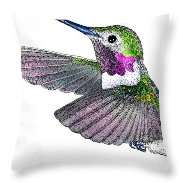 Broad-tailed Hummingbird Throw Pillow by Roger Hall