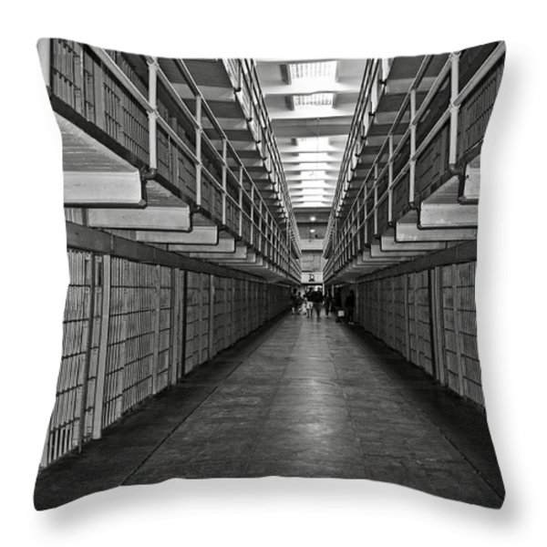 Broadway walkway in Alcatraz prison Throw Pillow by RicardMN Photography