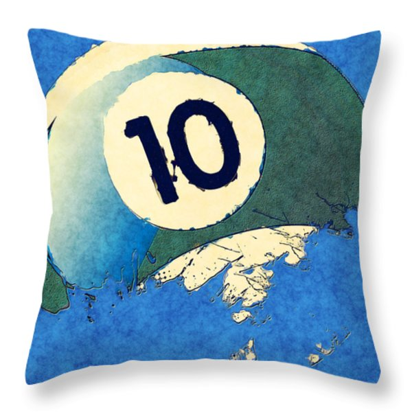 Broken 10 Ball Throw Pillow by David G Paul