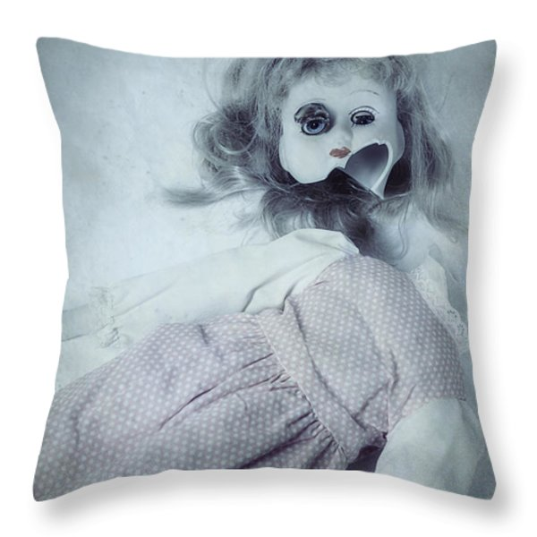 Broken Doll Throw Pillow by Joana Kruse