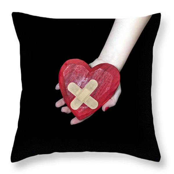 Broken Heart Throw Pillow by Joana Kruse