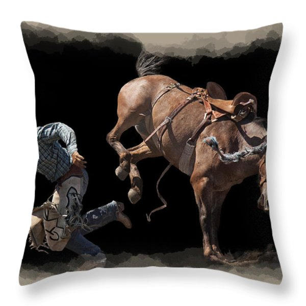 BRONCO BUSTED Throw Pillow by Daniel Hagerman