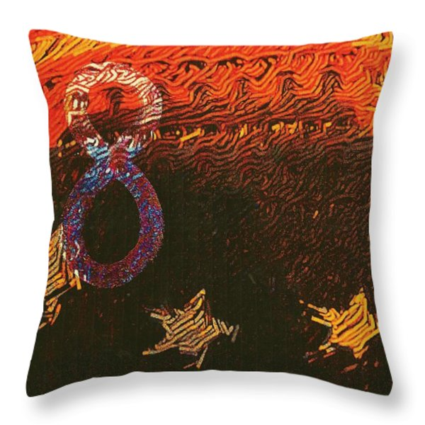 Broncos Football Throw Pillow by M and L Creations