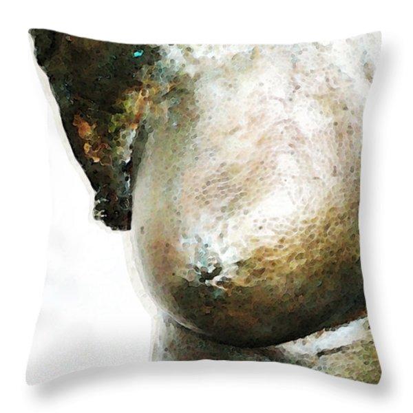 Bronze Bust 1 Throw Pillow by Sharon Cummings