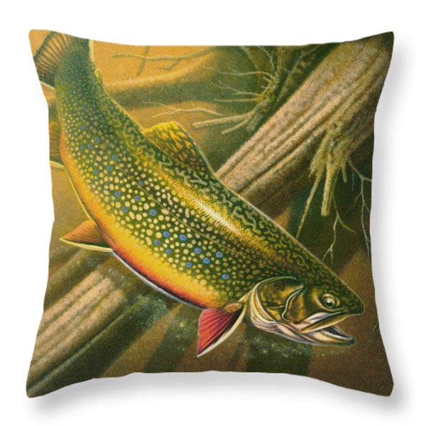 Brook Trout  Hideaway Throw Pillow by Jon Q Wright