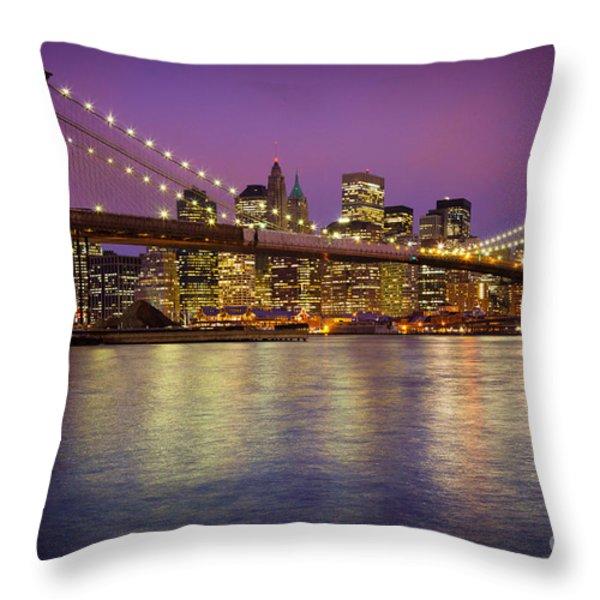 Brooklyn Bridge Throw Pillow by Inge Johnsson