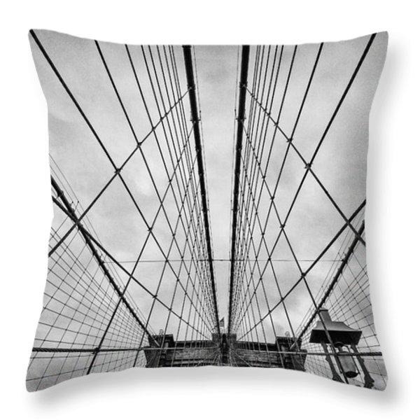 Brooklyn Bridge Throw Pillow by John Farnan