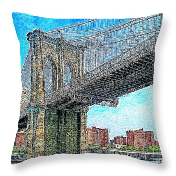 Brooklyn Bridge New York 20130426 Throw Pillow by Wingsdomain Art and Photography