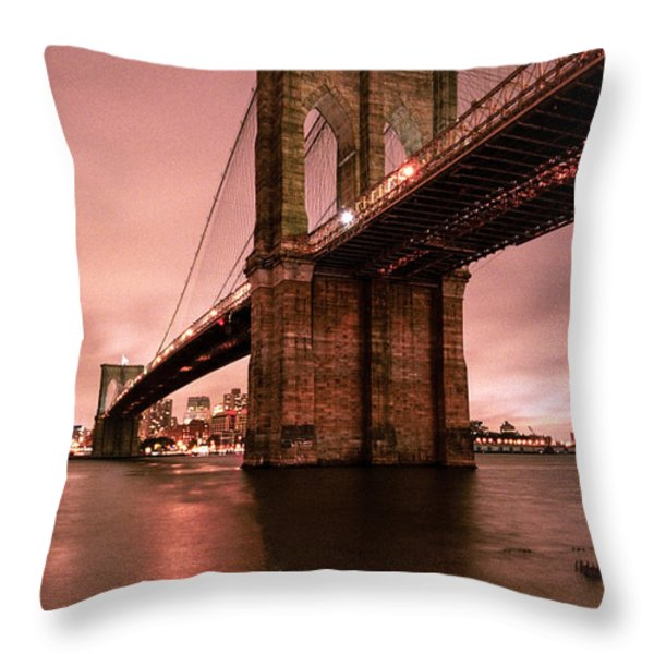Brooklyn Bridge - Red morning Throw Pillow by Gary Heller