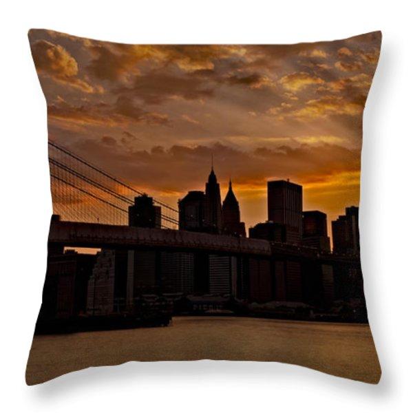Brooklyn Bridge Sunset Throw Pillow by Susan Candelario