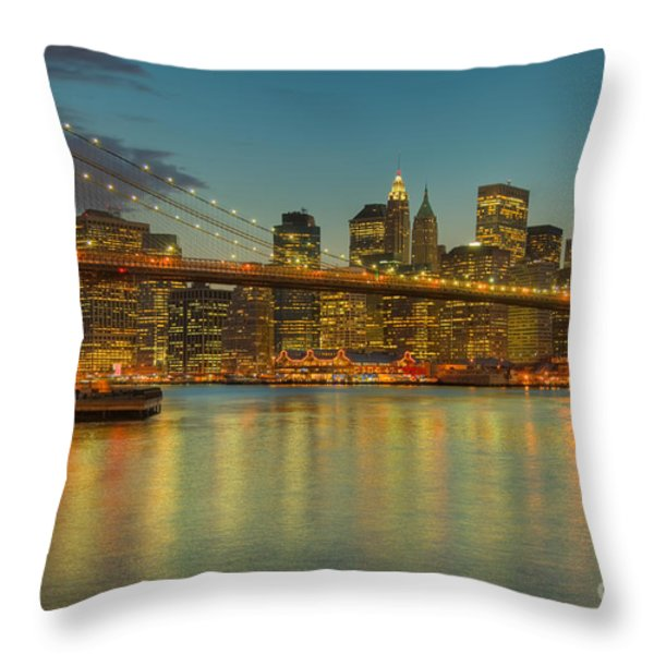 Brooklyn Bridge Twilight Throw Pillow by Clarence Holmes