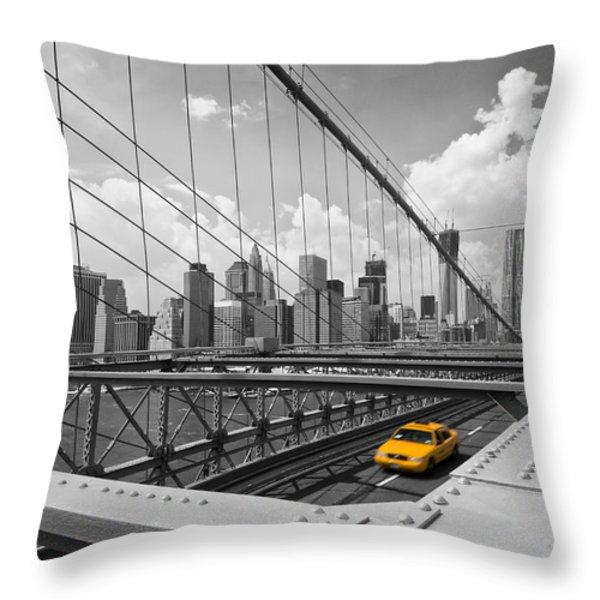 Brooklyn Bridge View NYC Throw Pillow by Melanie Viola