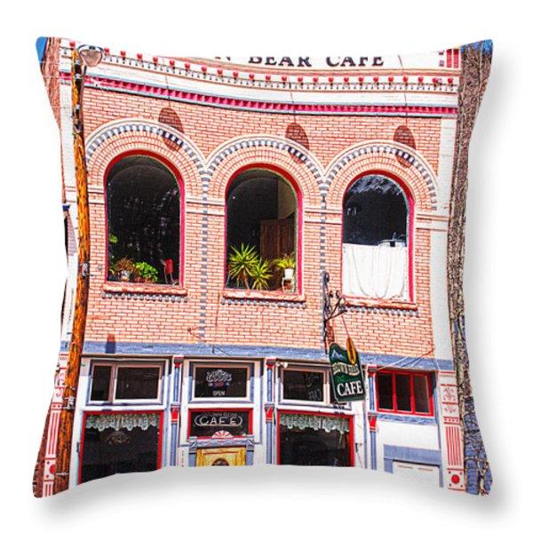 Brown Bear Cafe Silverton Colorado Throw Pillow by Janice Rae Pariza