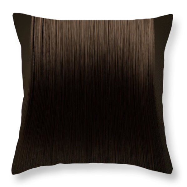 Brown Hair Perfect Straight Throw Pillow by Allan Swart
