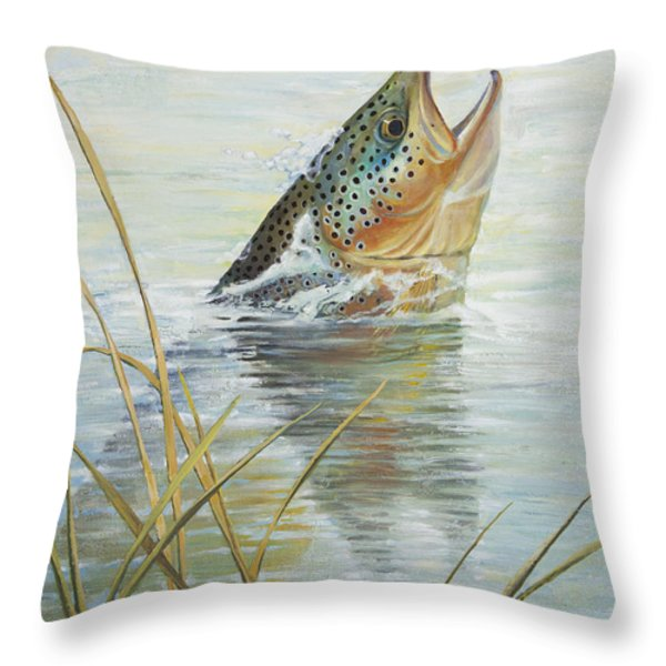 Brown Takes Damsel Throw Pillow by Rob Corsetti