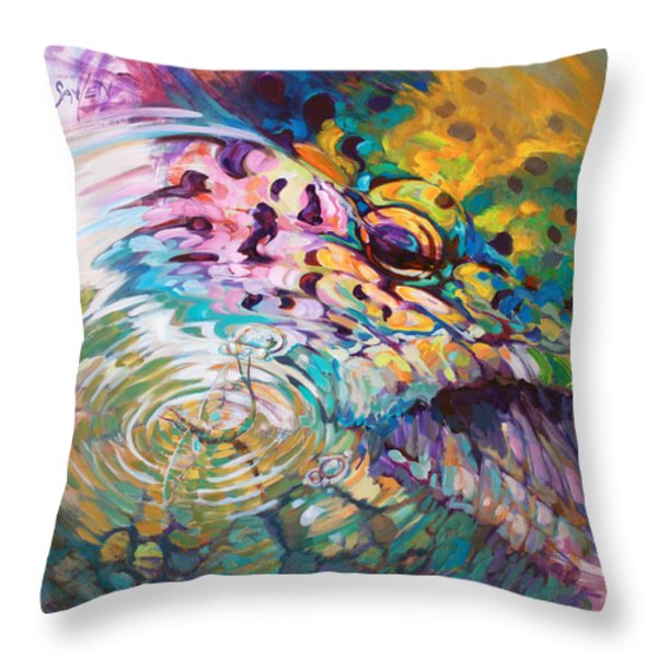 Brown Trout And Mayfly - Abstract Fly Fishing art  Throw Pillow by Mike Savlen