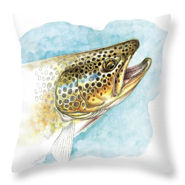Brown Trout Study Throw Pillow by JQ Licensing