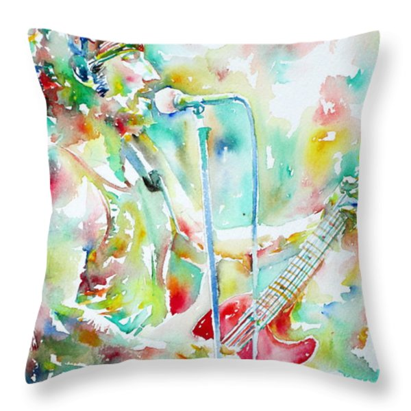 Bruce Springsteen Playing The Guitar Watercolor Portrait.1 Throw Pillow by Fabrizio Cassetta