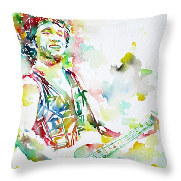 BRUCE SPRINGSTEEN PLAYING the GUITAR WATERCOLOR PORTRAIT.2 Throw Pillow by Fabrizio Cassetta