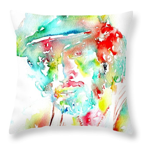 BRUCE SPRINGSTEEN WATERCOLOR PORTRAIT Throw Pillow by Fabrizio Cassetta