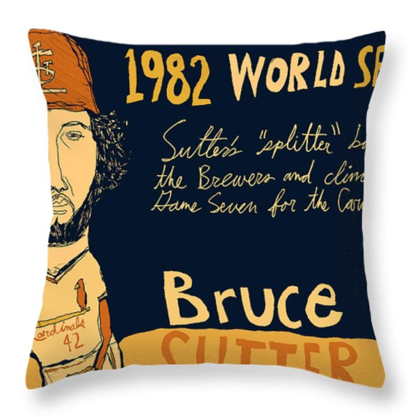 Bruce Sutter St Louis Cardinals Throw Pillow by Jay Perkins