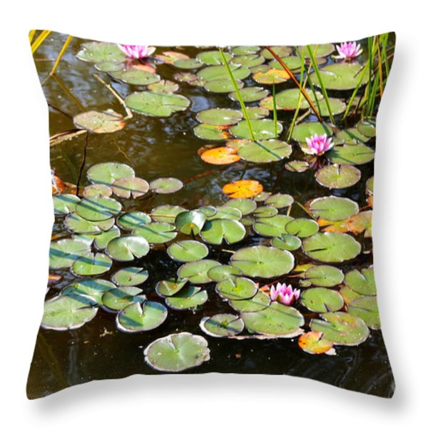 Bruges Lily Pond Throw Pillow by Carol Groenen