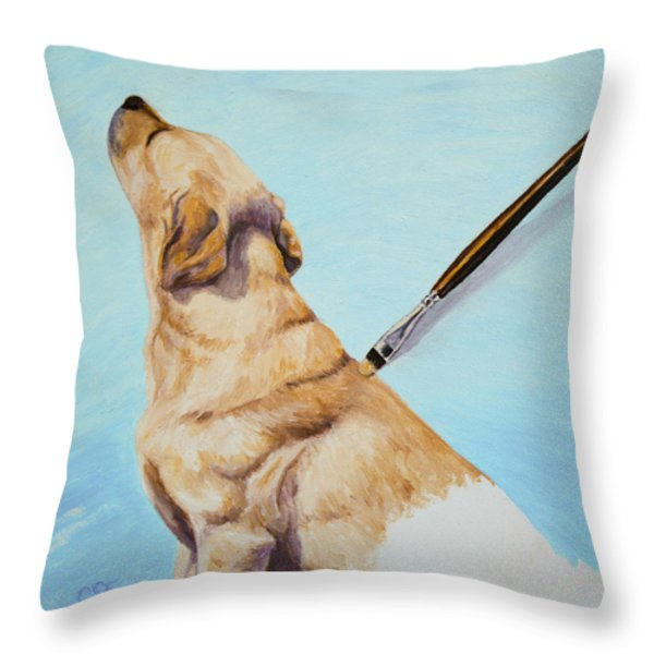 Brushing the Dog Throw Pillow by Crista Forest