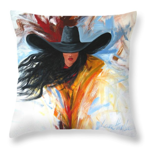 BRUSHSTROKE COWGIRL Throw Pillow by Lance Headlee