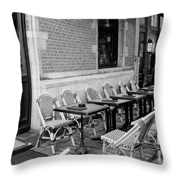 Brussels Cafe in Black and White Throw Pillow by Carol Groenen