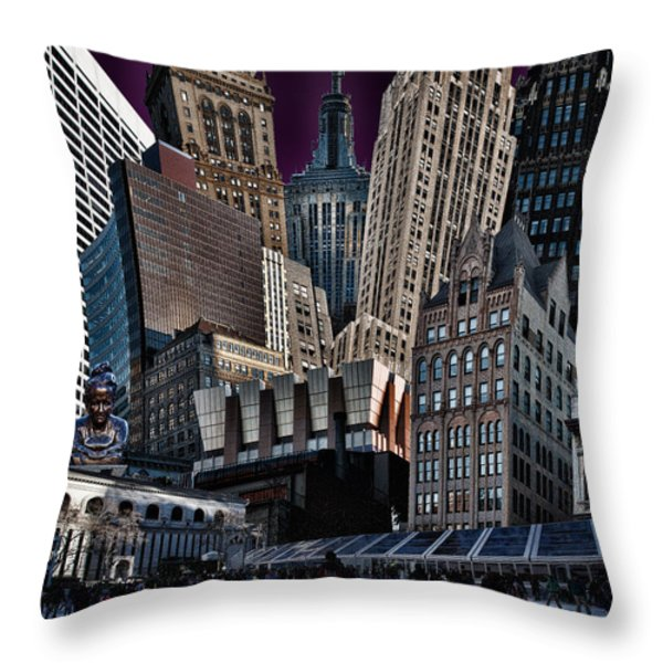 Bryant Park Collage Throw Pillow by Chris Lord
