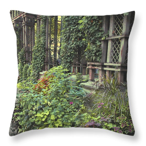 Bryant Park Grill 2 Throw Pillow by Muriel Levison Goodwin